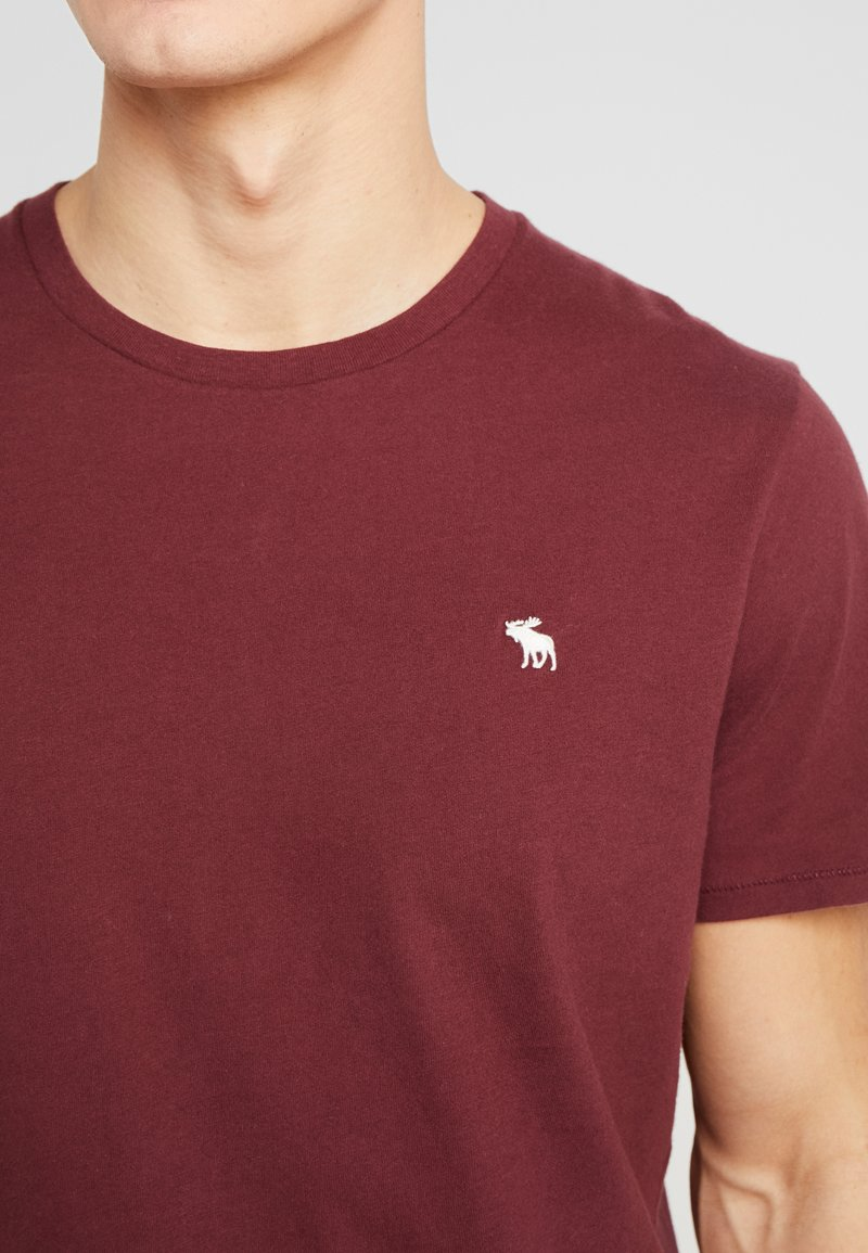 Abercrombie & Fitch CURVED HEM ICON - T-shirts med print - burgundy
