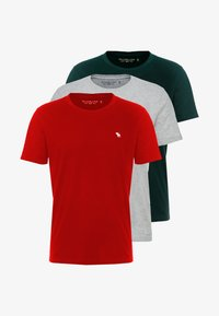 Abercrombie & Fitch - CREW 3 PACK - Basic T-shirt - red/grey/green - 4