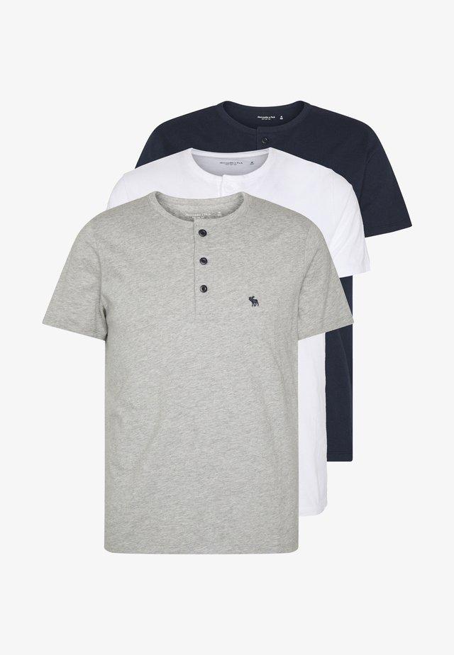 MULTIPACK - Basic T-shirt - navy/grey/white