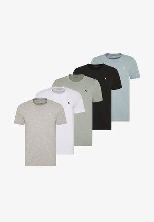 NEUTRAL CREW MULTIPACK 5 PACK - T-shirt imprimé - black/grey/white/blue/green