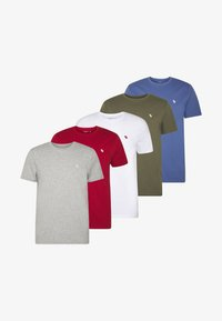 Abercrombie & Fitch - CREW MULTIPACK 5 PACK - T-Shirt basic - green/blue/white/red/grey - 5