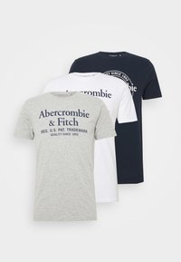 Abercrombie & Fitch - GRAPHIC CREW 3 PACK - Print T-shirt - white/navy/grey - 5