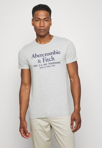 Abercrombie & Fitch - GRAPHIC CREW 3 PACK - Print T-shirt - white/navy/grey - 3