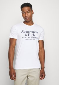 Abercrombie & Fitch - GRAPHIC CREW 3 PACK - Print T-shirt - white/navy/grey - 1
