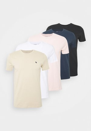 NEUTRAL CREW 5 PACK - T-shirts - white/rose/blue/beige/black
