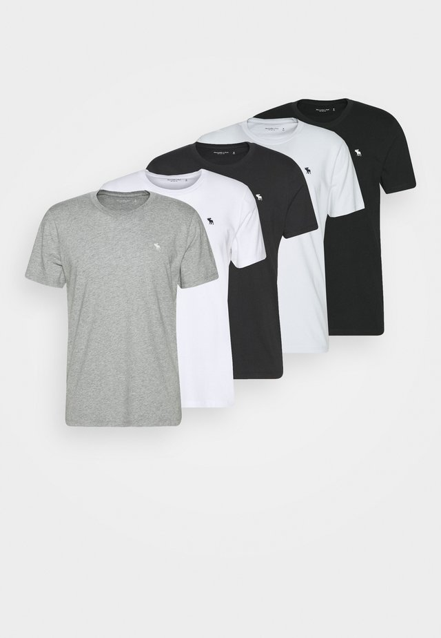CREW 5 PACK - Basic T-shirt - white/grey/blue/charcoal/navy