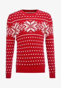 Abercrombie & Fitch - SNOWFLAKE CREW - Jumper - red and cream pattern - 4