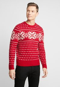 Abercrombie & Fitch - SNOWFLAKE CREW - Jumper - red and cream pattern - 0
