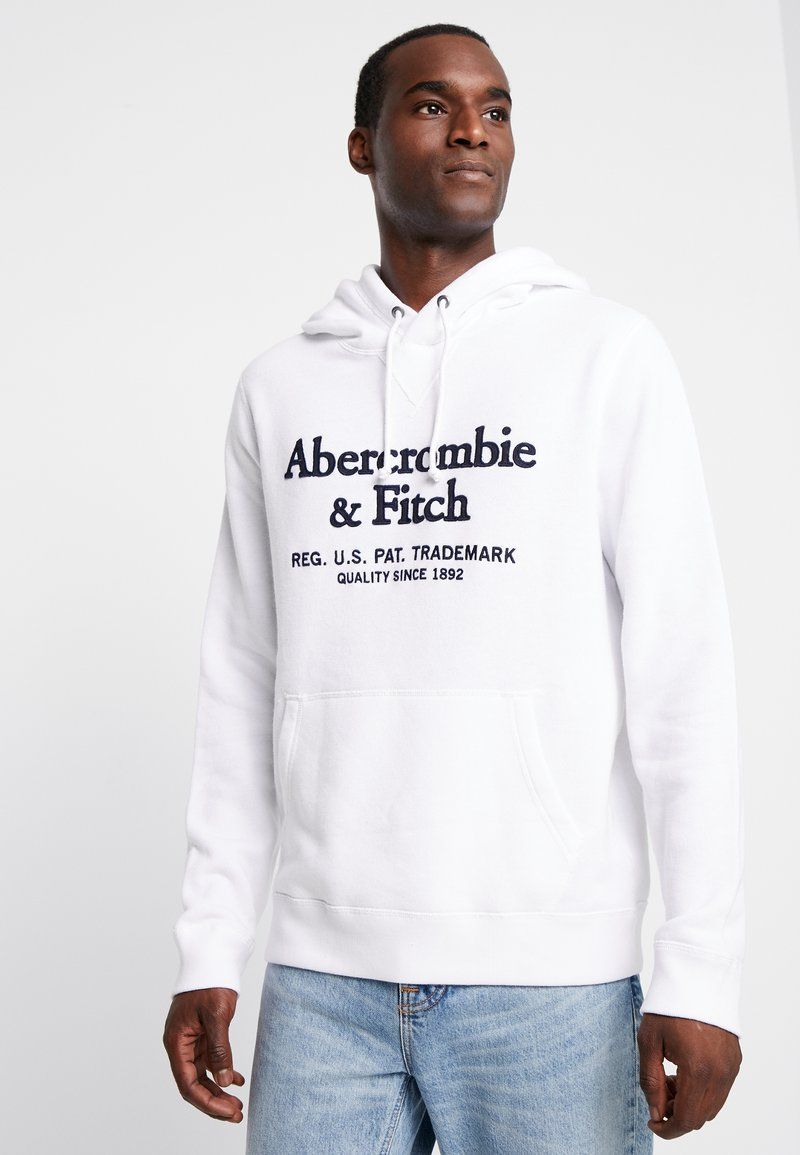 Abercrombie & Fitch - CREST APPLIQUE  - Hoodie - white