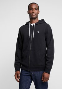 Abercrombie & Fitch - HOOD TAPE ICON FULLZIP - Mikina na zip - black - 0