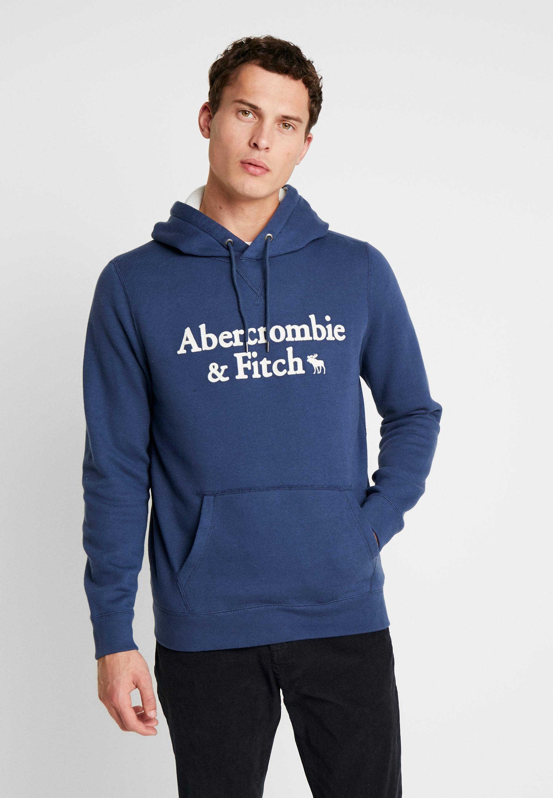 Abercrombie & Fitch APPLIQUE LOGOCON POPOVER - Bluza z kapturem - med blue