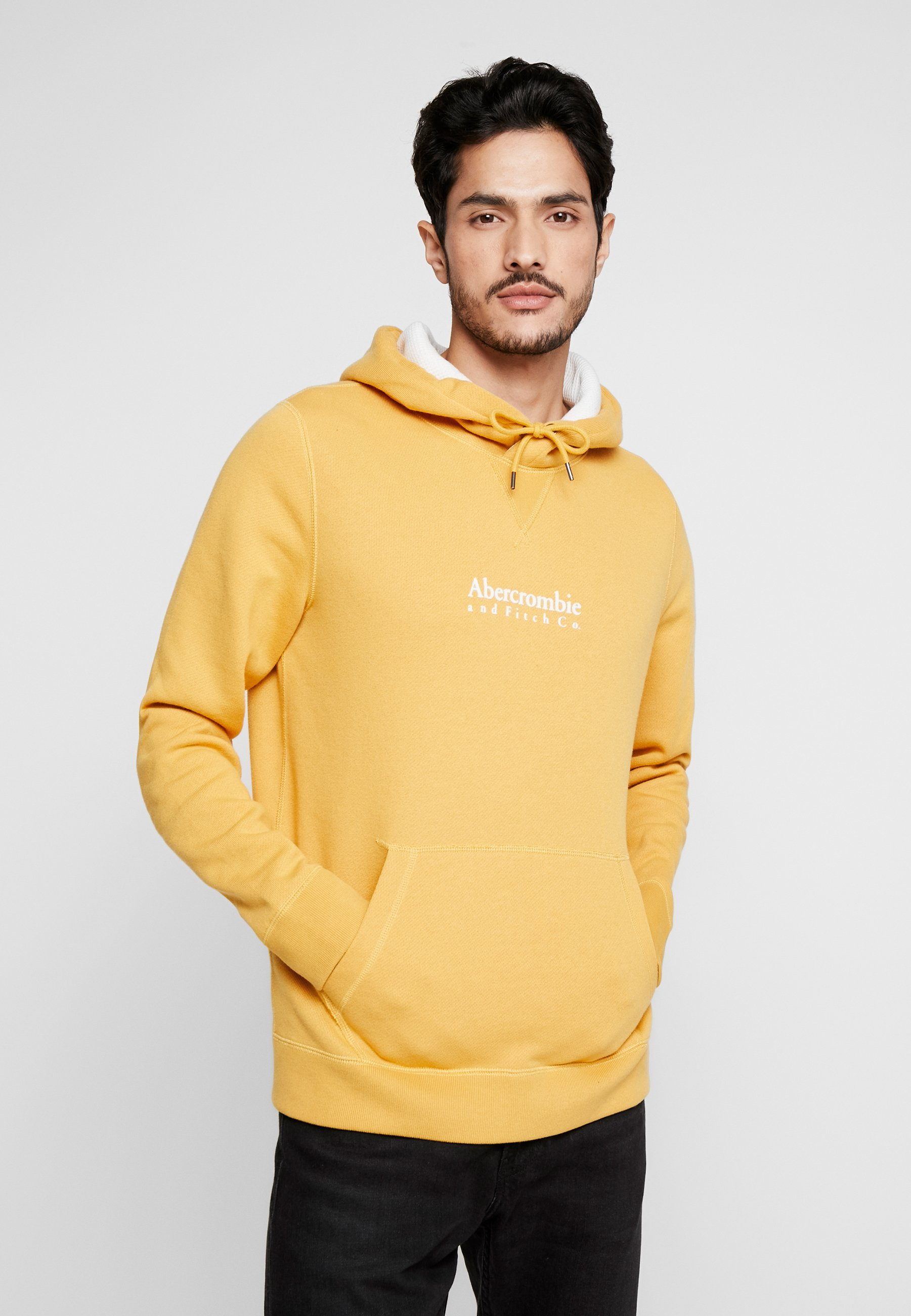 Abercrombie & Fitch FLOCK GARAMOND LOGO POPOVER - Bluza z kapturem - yellow