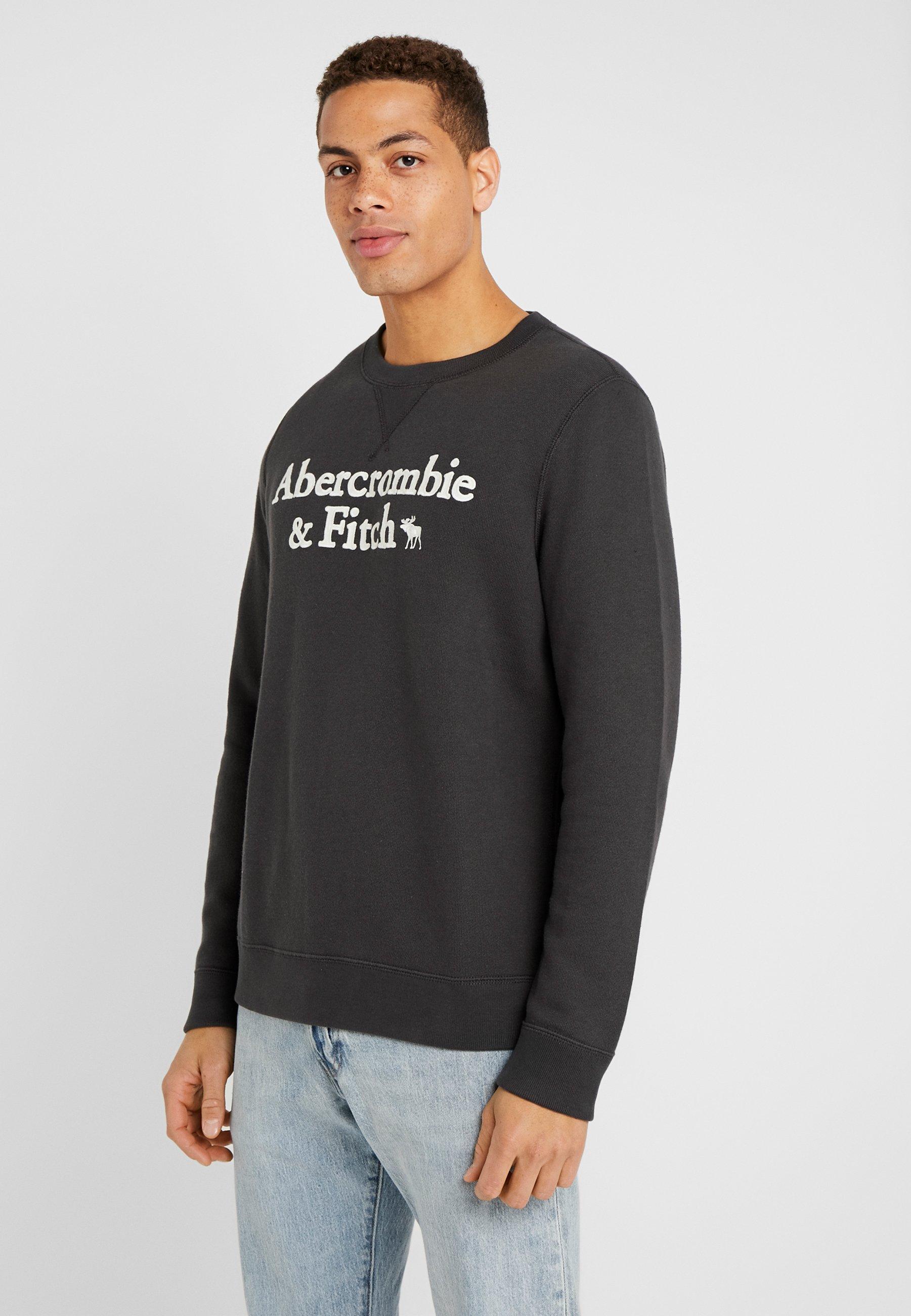 Abercrombie & Fitch APPLIQUE LOGOCON CREW - Bluza - black