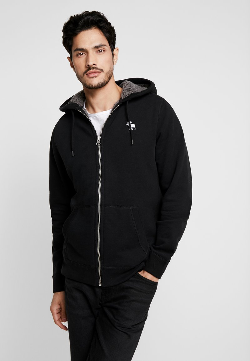 Abercrombie & Fitch - ICON INTERIOR SHERPA  - veste en sweat zippée - black