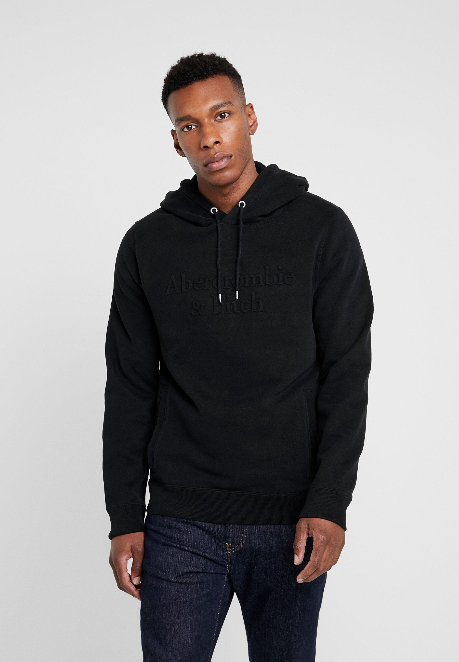 Abercrombie & Fitch EMBOSSED TREND LOGO - Bluza z kapturem - black