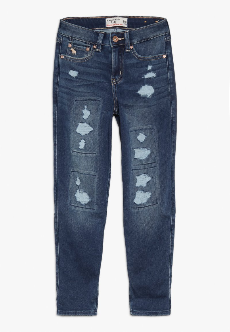 Abercrombie & Fitch - TERRY GIRLFRIEND  - Relaxed fit jeans - dark blue denim