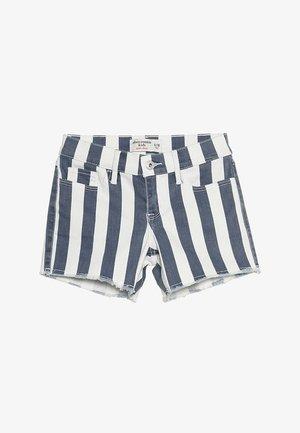 FASHION MIDI - Denim shorts - blue/white