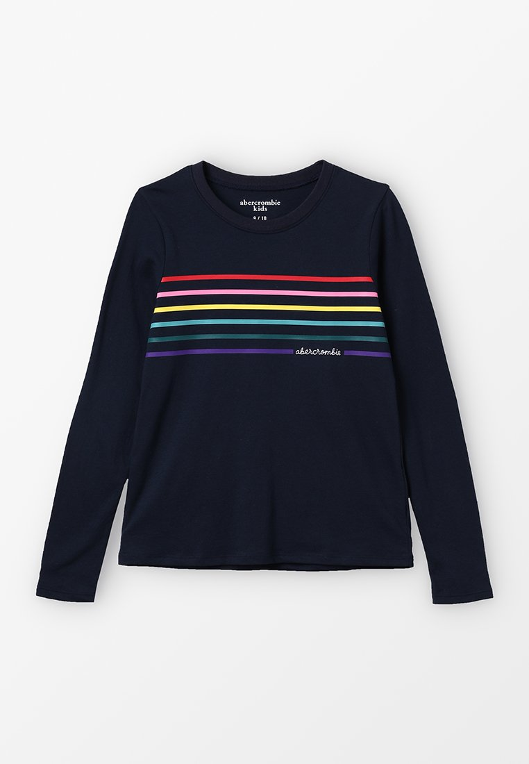 Abercrombie & Fitch - PERSONALITY CREW  - Langærmede T-shirts - navy/rainbow