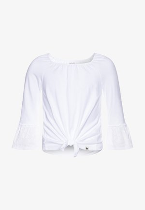 SLEEVE TIE FRONT - Long sleeved top - white