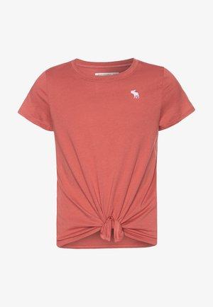 TIE FRONT  - Jednoduché triko - dusty cedar/brownish red