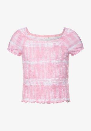 SMOCKED - T-shirt med print - pink