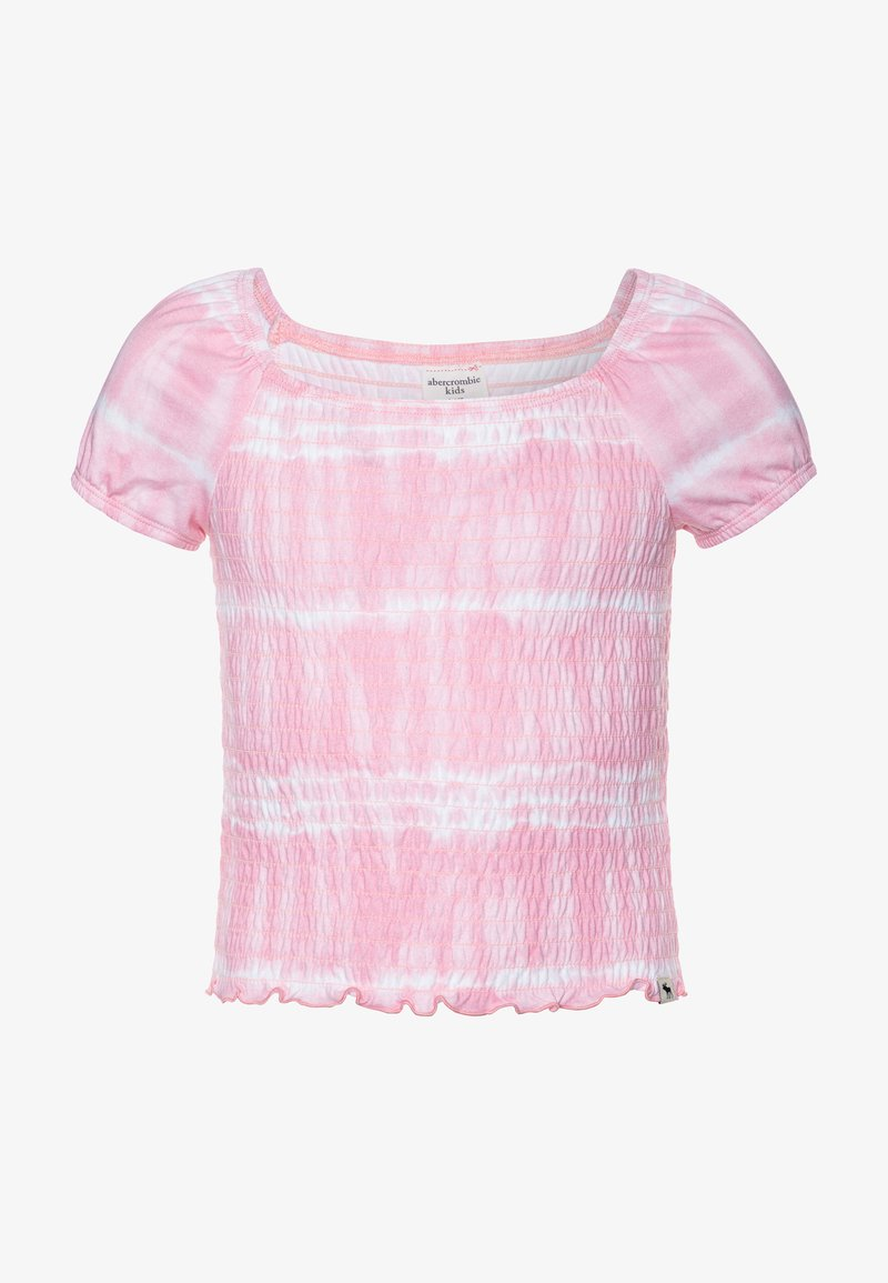Abercrombie & Fitch - SMOCKED - Print T-shirt - pink