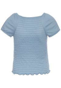 Abercrombie & Fitch - SMOCKED - Print T-shirt - faded denim - 1