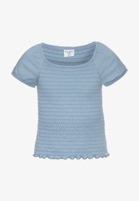 Abercrombie & Fitch - SMOCKED - Print T-shirt - faded denim - 0