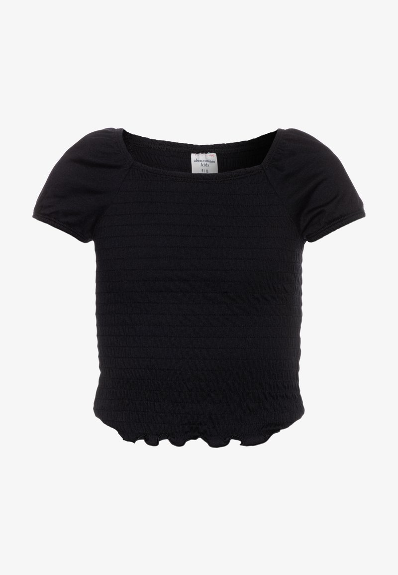 Abercrombie & Fitch - SMOCKED - Print T-shirt - black