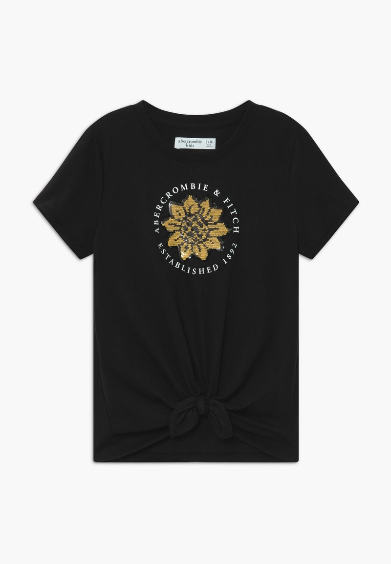 Abercrombie & Fitch - JAN TIE FRONT FLIP - Print T-shirt - black