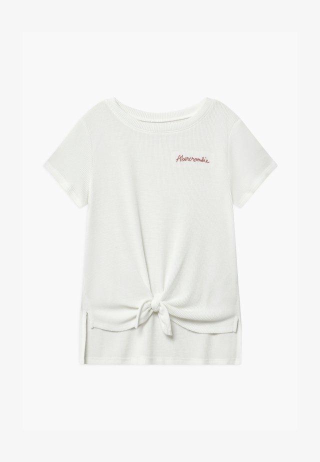 WAFFLE TIE FRONT - Camiseta estampada - white