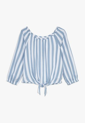 TIE FRONT BELL SLEEVE  - Pusero - blue/white