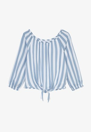 TIE FRONT BELL SLEEVE  - Blouse - blue/white
