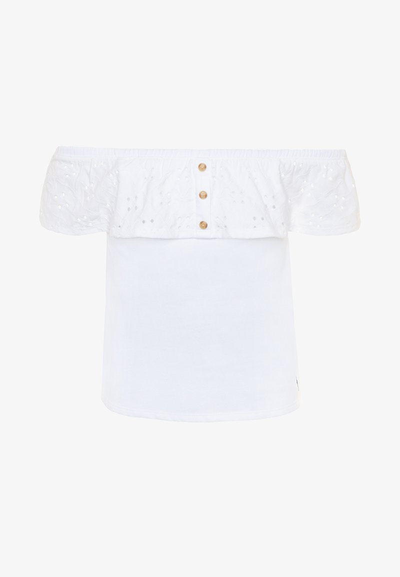 Abercrombie & Fitch - BUTTON THRU - Print T-shirt - white