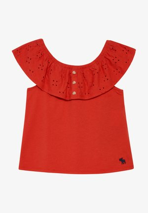 BUTTON THRU - Triko s potiskem - red