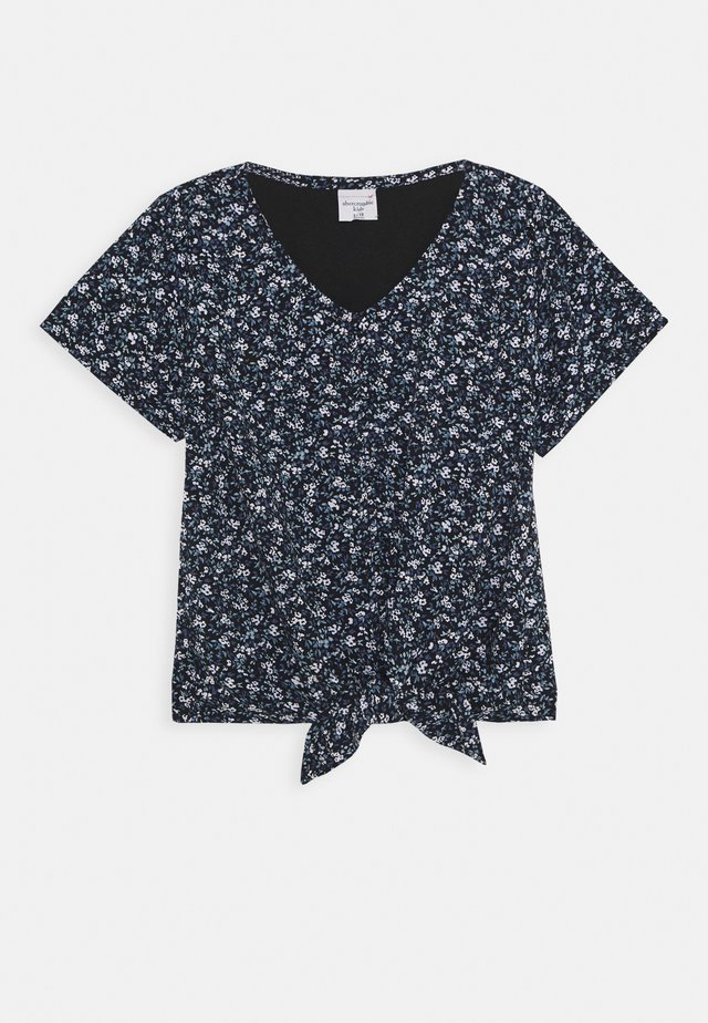 TIE FRONT - Print T-shirt - black