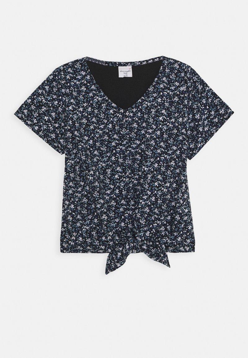Abercrombie & Fitch - TIE FRONT - T-shirt imprimé - black