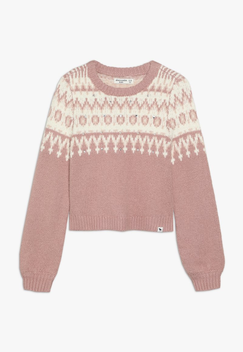 Abercrombie & Fitch - CABLE SHINE LAYER - Svetr - pink fair isle