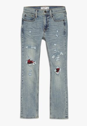 SKINNY DARK DESTROY BACKING  - Jeans Skinny - light blue denim
