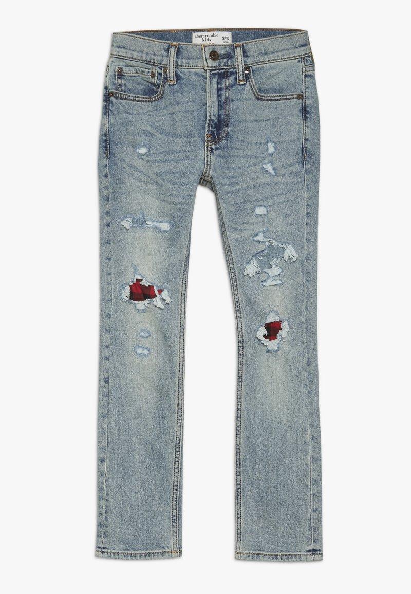 Abercrombie & Fitch - SKINNY DARK DESTROY BACKING  - Jeans Skinny - light blue denim