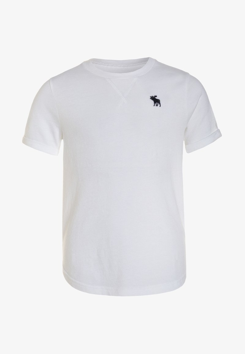 Abercrombie & Fitch - CURVED CREW - T-Shirt basic - white