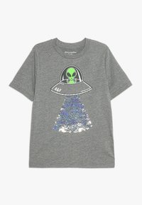 Abercrombie & Fitch - FLIP SEQUINS - Print T-shirt - grey melange - 0