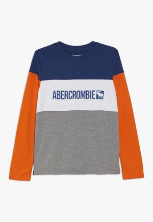 COLOR BLOCK - T-shirt à manches longues - blue/grey/orange