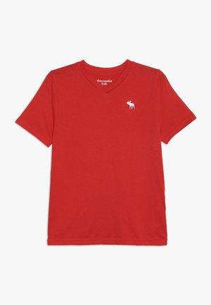 V NECK - T-shirt z nadrukiem - red