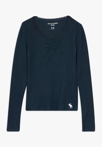 Abercrombie & Fitch - RUCH FRONT SOLID - Long sleeved top - navy - 0
