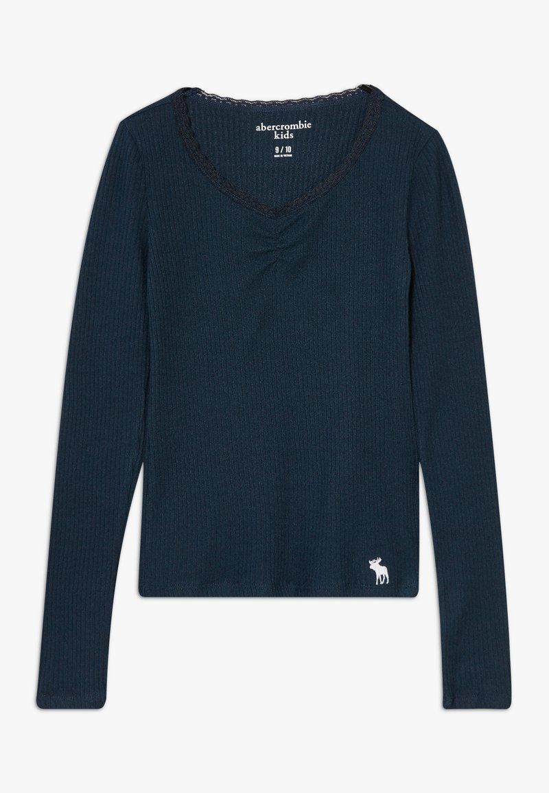 Abercrombie & Fitch - RUCH FRONT SOLID - Long sleeved top - navy