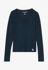 Abercrombie & Fitch - RUCH FRONT SOLID - Long sleeved top - navy - 3