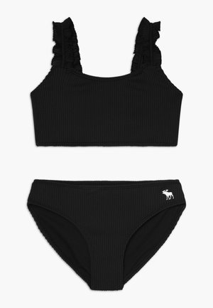 RUFFLE STRAP RIBBED SET - Bikini - black