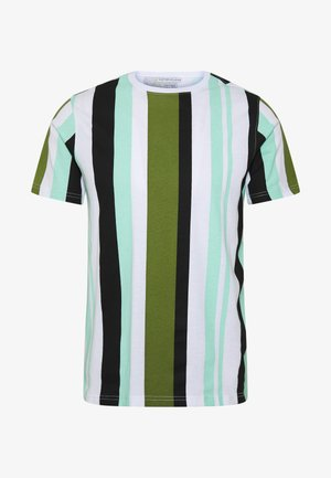 ANOTHER INFLUENCE STRIPE - Triko s potiskem - white/khaki/mint