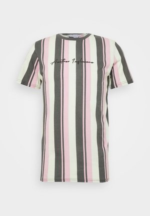 SIGNATURE VERTICAL STRIPE - Camiseta estampada - grey/mint/pink